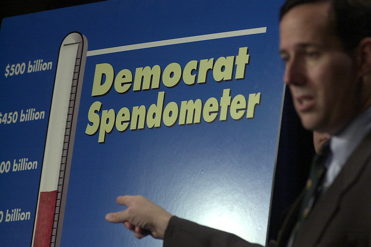 "spend2/012303 - Sen. Rick Santorum, R-Pa., at a press conference to unveil the Spendometer, to track the amount that ""Democrats are attempting to add to the federal budget deficit."""