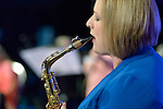 Sara Lynn Roberts plays the saxophone during an April 27, 2014, worship service at the United Methodist Women's Assembly in the Kentucky International Convention Center in Louisville, Kentucky. Roberts is the professor of woodwinds and bands at Tyler Junior College in Tyler, Texas.