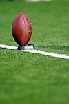 4 November 2007: An Bills NFL practice football rests on a tee prior to the kickoff between the Buffalo Bills and the Cincinnati Bengals at Ralph Wilson Stadium in Orchard Park, NY. The Bills defeated the Bengals 33-21 in front of a sellout crowd of 70,745...Mandatory Photo Credit: Ed Wolfstein Photo