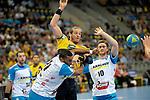 GER - Mannheim, Germany, September 23: During the DKB Handball Bundesliga match between Rhein-Neckar Loewen (yellow) and TVB 1898 Stuttgart (white) on September 23, 2015 at SAP Arena in Mannheim, Germany. Final score 31-20 (19-8) .  Djibril MBengue #11 of TVB 1898 Stuttgart, Kim Ekdahl du Rietz #60 of Rhein-Neckar Loewen, Kasper Kisum #10 of TVB 1898 Stuttgart<br /> <br /> Foto &copy; PIX-Sportfotos *** Foto ist honorarpflichtig! *** Auf Anfrage in hoeherer Qualitaet/Aufloesung. Belegexemplar erbeten. Veroeffentlichung ausschliesslich fuer journalistisch-publizistische Zwecke. For editorial use only.