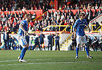 Aberdeen v St Johnstone...03.10.15   SPFL   Pittodrie, Aberdeen<br /> Liam Craig watches as his shot deflects of Andy Considine to make it 3-1<br /> Picture by Graeme Hart.<br /> Copyright Perthshire Picture Agency<br /> Tel: 01738 623350  Mobile: 07990 594431