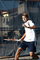 SAN ANTONIO, TX - FEBRUARY 8, 2014: The Trinity University Tigers versus the University of Texas at San Antonio Roadrunners Men's Tennis at the UTSA Tennis Center. (Photo by Jeff Huehn)
