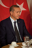 Prime Minister Recep Tayyip Erdogan of Turkey holds a bilateral meeting with United States President Barack Obama (not pictured) at the United Nations General Assembly in New York, New York on Tuesday, September 20, 2011. .Credit: Allan Tannenbaum / Pool via CNP