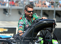 Mar 13, 2015; Gainesville, FL, USA; Rob Wendland , crew chief for NHRA top fuel driver Terry McMillen during qualifying for the Gatornationals at Auto Plus Raceway at Gainesville. Mandatory Credit: Mark J. Rebilas-