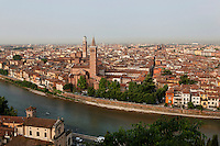 General view of Verona, Italy, with the Adige River, the Basilica of Saint Anastasia and the Torre dei Lamberti (Lamberti Tower) in the distance. This view was taken from the hill of Castel San Pietro, known by the Romans as Mons Gallus. Picture by Manuel Cohen.