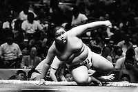 A Young Rikishi Sumo wrestler attempts to get back to his feet after losing his contest...450 children, aged between 11-14, quilified for the  from ook part in the All Japan Wanpaku Sumo Tournament. The  Ryogoku Kokugikan Stadium, Tokyo, Japan.