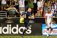 Conor Casey (6) of the Philadelphia Union celebrates scoring during the first half against D. C. United during a Major League Soccer (MLS) match at PPL Park in Chester, PA, on August 10, 2013.
