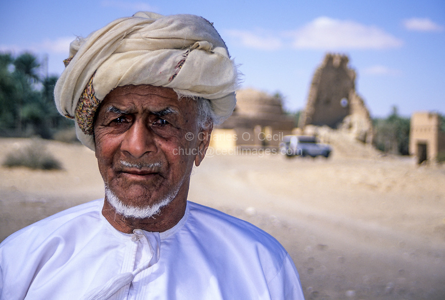 Jaalan Bani Bu Ali, Oman.  Omani Resident of Jaalan Bani Bu Ali, with Msarr, the traditional Omani headdress.