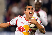 Tim Cahill (17) of the New York Red Bulls celebrates a goal. The New York Red Bulls defeated the Chicago Fire 5-2 during a Major League Soccer (MLS) match at Red Bull Arena in Harrison, NJ, on October 27, 2013.