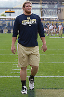 Notre Dame lineman Taylor Dever warms up. The Notre Dame Fighting Irish defeated the Pitt Panthers 15-12 at Heinz field in Pittsburgh, Pennsylvania on September 24, 2011.