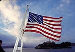 US flag on boat to Alcatraz Island