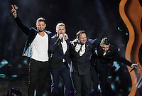 20/11/13<br /> Boyzone  (L-R)Keith Duffy,Ronan Keating ,Mikey Graham and Shane Lynch.pictured performing at the Cheerios Childline Concert at the O2 Dublin this evening&eth;. <br /> Pic Collins Photos