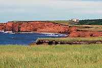 Ile du Cap-aux-Meules, Iles de la Madeleine, Quebec, Canada - Sandstone Cliffs along Coastline at La Belle Anse, Gulf of St. Lawrence - (Beautiful Cove, Grindstone Island, Magdalen Islands)