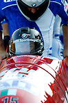 20 November 2005: Fabrizio Tosini leads the Italy 2 sled pushoff in the first run of the 2005 FIBT AIT World Cup Men's 4-Man Bobsleigh Tour, piloting the team to a 14th place finish at the Verizon Sports Complex, in Lake Placid, NY. Mandatory Photo Credit: Ed Wolfstein.