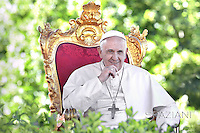 Pope Francis during a meeting with youth of the sanctuary of  Castelpetroso, southern Italy, during visit in the Molise region.  July 5, 2014