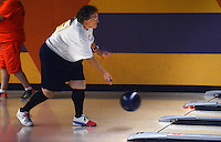 STAFF PHOTO SAMANTHA BAKER &yen; @NWASAMANTHA<br /><br />Pat Groce of Prairie Grove sends her ball down the lane Monday, June 30, 2014, while competing in the National Veterans Golden Age Games bowling competition at Fast Lanes in Lowell.
