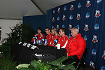 15 December 2007: From right: Ohio State head coach John Bluem, Eric Edwards, Doug Verhoff, Eric Brunner. The Ohio State Buckeyes held a press conference at SAS Stadium in Cary, North Carolina one day before playing in the NCAA Division I Mens College Cup championship game.
