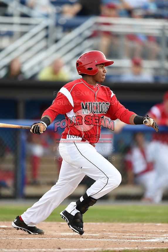 Batavia Muckdogs outfielder Wildert Pujols (38) at bat during a game against the Jamestown Jammers on July 7, 2014 at Dwyer Stadium in Batavia, New York.  Batavia defeated Jamestown 9-2.  (Mike Janes/Four Seam Images)