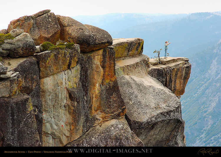 Awestruck Hiker at Taft Point Overlook, Yosemite National Park