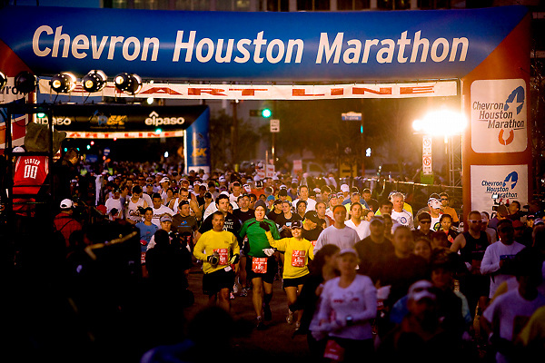 Stock photo of the 40th running of the Chevron Houston Marathon - Crowd of participants at the starting line of the marathon