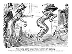 """The New Skirt and the Poetry of Motion. Edith (breaking into a hop). """"Hurry up, Mabel; you'll never catch the train if you keep on trying to run."""""""