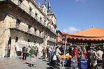 Market in Plaza Mayor Square, Leon, Spain