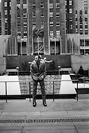 March, 1965, Manhattan, NYC, Rockefeller Center. Charles Aznavour visits New York City to promote his film Taxi For Torburk.