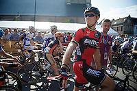 on the start line of his farewell race Thor Hushovd (NOR/BMC) looks back to find his kids (who are present for the occasion)<br /> <br /> GP Impanis 2014