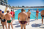 The Icebergs Swim Club swimming during off season with other community swimming club members at the historic Bondi Baths, a saltwater swimming pool.