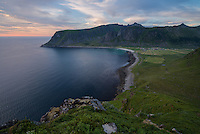 View over Unstad beach from Helligberget, Vestvågøy, Lofoten Islands, Norway
