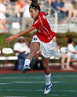 Western New York midfielder Angela Salem (6) follows through on scoring shot. In a Women's Premier Soccer League Elite (WPSL) match, the Boston Breakers defeated Western New York Flash, 3-2, at Dilboy Stadium on May 26, 2012.