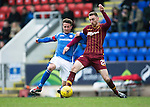 St Johnstone v Motherwell&hellip;20.02.16   SPFL   McDiarmid Park, Perth<br />Chris Millar and Louis Moult<br />Picture by Graeme Hart.<br />Copyright Perthshire Picture Agency<br />Tel: 01738 623350  Mobile: 07990 594431