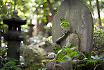 Photo shows a stone Buddha statue on display in the gardens of the Nezu Museum of Art in, Tokyo, Japan on 17 Sept. 2012. The  museum was  first conceptualized by pre-war industrialist Kachiro Nezu, who wanted to find a place to display and store his collection of ancient Asian artworks.  Photographer: Robert Gilhooly