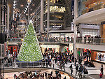 Swarovski Christmas Tree at Toronto Eaton Centre shopping mall during Christmas season. Toronto, Ontario, Canada.