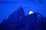 Moonrise over the Grand Teton, Grand Teton National Park, Wyoming USA