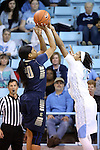 02 January 2015: North Carolina's Danielle Butts (10) blocks a shot by ETSU's Maria Bond (20). The University of North Carolina Tar Heels hosted the East Tennessee State University Buccaneers at Carmichael Arena in Chapel Hill, North Carolina in a 2014-15 NCAA Division I Women's Basketball game. UNC won the game 95-62.
