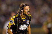 Columbus Crew defender Frankie Hejduk loking for the ball. The LA Galaxy defeated the Columbus Crew 3-1 at Home Depot Center stadium in Carson, California on Saturday Sept 11, 2010.