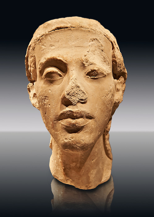 Statue Portrait head of Nefertiti. / Porträtköpfe des Königspaares Nofretete. / Egypt 18. Dynasty  (1340 BC) Berlin Neues Museum Cat No: AM 21348.