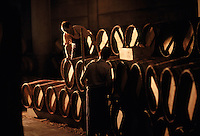 The barrels in the chais of Chateau Lafite Rothschild. The barrels in the chais of Chateau Lafite Rothschild. The Vineyards are located in Pauillac, in the Medoc, north of Bordeaux.  Chateau Lafite Rothschild is one of the Grand Cru (Great Growth) classified red wines of 1855, one of the great wines of the world.