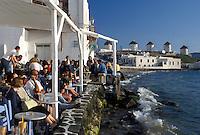 outdoor café, Mykonos, Greek Islands, Cyclades, Greece, Europe, Outdoor café at Little Venice along the waterfront of Mykonos on the Aegean Sea.