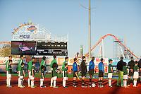 BROOKLYN, NY - Saturday May 02, 2015: The New York Cosmos beat Ottawa Fury FC 1-0 at a special guest stadium, MCU Park, home of the Brooklyn Cyclones single A baseball on Coney Island in Brooklyn, New York in regular season NASL play.