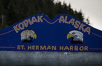 St. Herman Harbor Sign, Kodiak Island, Alaska, US