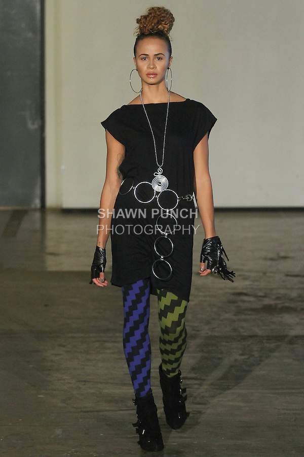 Model walks runway in an outfit from the Lois Eastlund Spring Summer 2016 collection, during Fashion Week Brooklyn Spring Summer 2016.