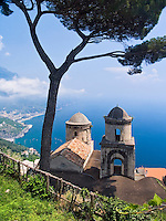 Amalfi coast view from Villa Rufolo in Ravello, Italy. Old Mediterranean architecture.