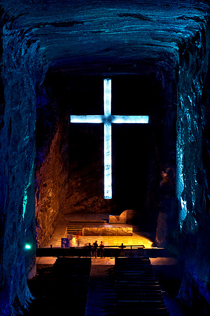 Colombia / Zipaquira / Cudinamarca Province / Salt Cathedral / Main Altar With Cross / Salt Mine.
