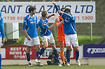St Johnstone v Dundee Utd....21.04.12   SPL.Fran Sandaza kicks out at Jamie Adams after being sent off.Picture by Graeme Hart..Copyright Perthshire Picture Agency.Tel: 01738 623350  Mobile: 07990 594431
