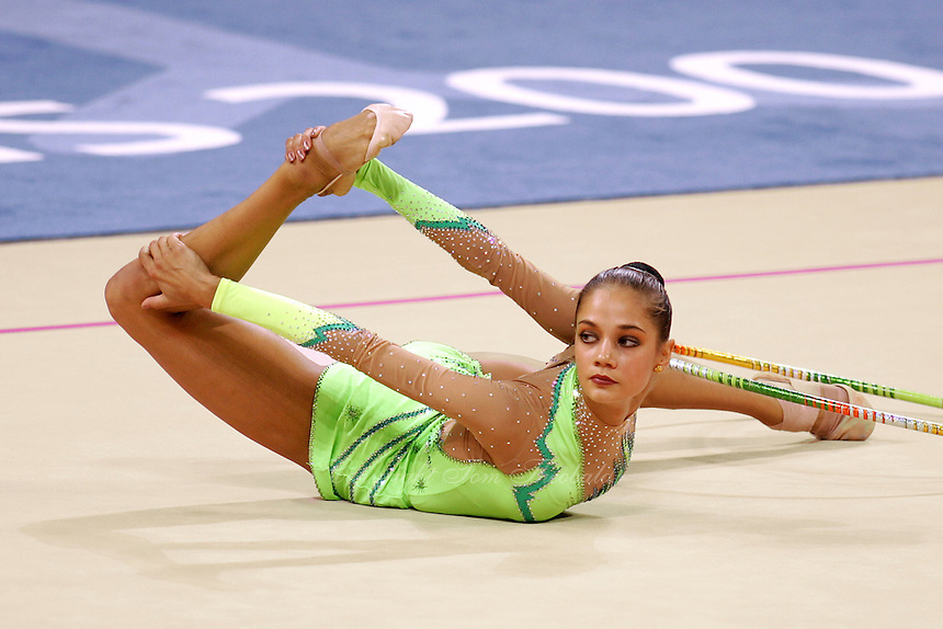 Irina Tchachina of Russia begins hoop routine during All-Around final at 2004 Athens Olympic Games on August 29, 2006 at Athens, Greece. Irina won silver in the All-Around final. (Photo by Tom Theobald)