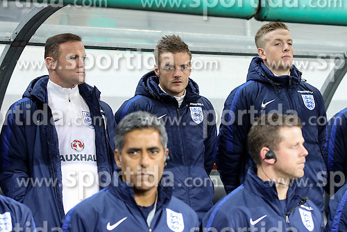 Wayne Rooney, Jamie Vardy and Jordan Pickford of England during football match between National teams of Slovenia and England in Round #3 of FIFA World Cup Russia 2018 Qualifier Group F, on October 11, 2016 in SRC Stozice, Ljubljana, Slovenia. Photo by Gregor Valancic / Sportida