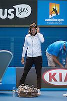 Amelie Mauresmo and Great Britain Union Jack Bag<br /> <br /> Tennis - Australian Open 2015 - Grand Slam -  Melbourne Park - Melbourne - Victoria - Australia  - 25 January 2015. <br /> &copy; AMN IMAGES
