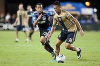 Giovanni (left) defends Michael Orozco Fiscal (right). The San Jose Earthquakes defeated the Philadelphia Unioin 1-0 at Buck Shaw Stadium in Santa Clara, California on September 15th, 2010.